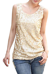 Women's Casual/Daily / Plus Size Simple Summer Tank Top,Solid U Neck Sleeveless Black / Gold Polyester