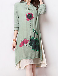 Women's Casual / Day Floral / Color Block / Split Loose Thin Dress , Stand Collar False Two Cotton / Linen