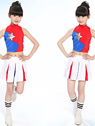 Tenue(Rouge,Coton,Jazz)Jazz- pourEnfant Plissé Spectacle Costumes de Pom-Pom Girl