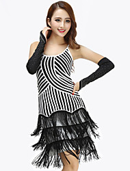Latin Dance Dresses Women's Performance Polyester Tassel(s) 1 Piece Black / Red / Multi-color Latin Dance Dress