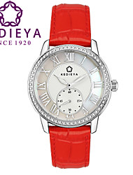 KEDIEYA Red Genuine Leather Zircon Diamond Mosaic Small Second Dial 50M Waterproof Gift Watch Ladies Womens Watches