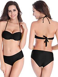 Women's Halter Bikinis , Solid Underwire Bra Nylon / Spandex White / Green / Orange / Black