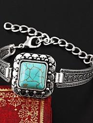 European Style Elegant Vintage Turquoise Square Shape Charm Bracelet Bangle