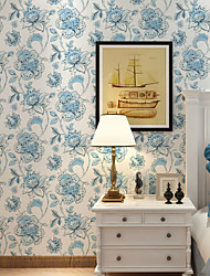 al-mullk Floral Wallpaper Retro Wall Covering , Non-woven Paper Retro Plain Big Flower Garden Style