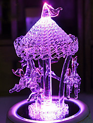Crafts And Gifts Crystal Glass Trojan Music Box Sky City Music Box Lamp Creative Gifts Lamp Led Light