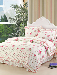 Beauty Bosom Friend, Full Cotton Reactive Printing Garden Flowers Bedding Set 4PC, FULL Size