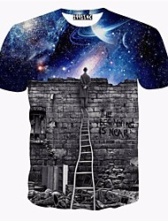 Sky 3 d short sleeve T-shirt outside the walls