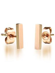 Titanium Steel 18K Golden Square Earrings