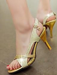 Women's Shoes Glitter / Customized Materials Stiletto Heel Heels / Open Toe Sandals Party & Evening / Dress /Silver