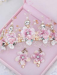 Blooming Flowers Alloy / Titanium Headpiece - Wedding / Special Occasion / Outdoor Tiaras / Wreaths with Earings