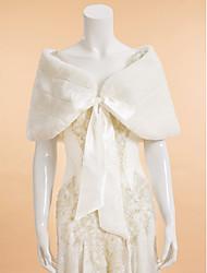 Wraps Wedding Mantelline Senza maniche Pelliccia ecologica Avorio Matrimonio Da sera Ovale Con lacci