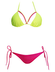 Women's  Lime Rosy String Detail Two Piece Swimsuit