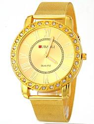 Женские Модные часы Кварцевый сплав Группа Блестящие Золотистый бренд- JUBAOLI