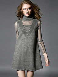 OuYa Women's Solid Color Black / Gray Dresses , Casual / Party High-Neck Long Sleeve