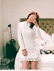 trabalho / casual / dia vestido da bainha sólida estilo coreano das mulheres, ficar acima de algodão joelho