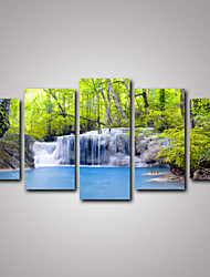 5 Panels Spring Green Trees and Blue Waterfalls Landscape Canvas Print Art for Livingroom Decoration Unframed