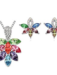 Jewelry Set Shining Crystal Elegant Multicolor Flower Pendant Necklace Earring(Assorted Color)