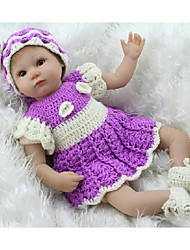 NPKDOLL Reborn Baby Doll Soft Silicone 18inch 45cm Magnetic Lovely Lifelike Cute Boy Girl Toy Purple Dress