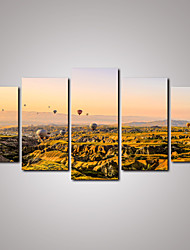 5 Panels Balloons Race Above the Mountain Landscape Canvas Print Wall Art for Home and Office Decor Unframed