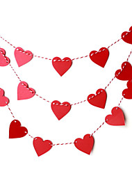 7cm Width 2M Length Paper Heart Shape DIY Banner Confetti (15pcs Heart + 1 pcs Rope)