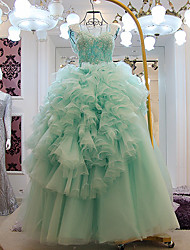 A-line Wedding Dress - Sky Blue Floor-length Scoop Lace / Tulle