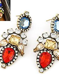 Drop Earrings Gemstone Cubic Zirconia Simulated Diamond Alloy Red Jewelry 2pcs