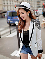 DABUWAWA Women's Tailored Collar Long Sleeve Color Block Lace Patchwork White Black Multi-color Work Suits & Blazers