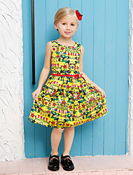 Girl's Yellow Dress,Floral Cotton Summer / Spring / Fall