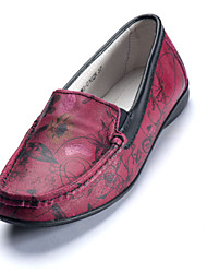 Women's Shoes Mama Leather shoes Round Toe Loafers shoes/ Casual shoes Burgundy