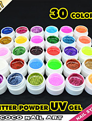 40217 Professional Nail Acrylic Glitter Powder For Nail Beauty Salon GDCOCO Nail UV Gel 30 Colors Colorful Glitter Gel