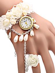 Femme Montre Tendance Bracelet de Montre Quartz Montre Décontractée Tissu Bande Fleur Perles Blanc Blanc