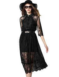 Mulheres Vestido Bainha / Rendas Vintage / Casual Patchwork Médio Colarinho Chinês Poliéster / Nylon