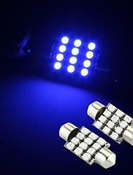 2 x bleu 12 LED SMD feston dôme intérieur 36mm de lumière de l'ampoule