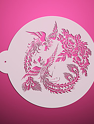 2*Phoenix & Peony Design Cupcake Top Stencils ,Decorating Stencils for Cake,Flower Cake Stencil ST-3116