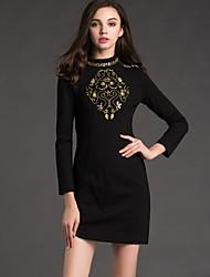 JOJO HANS Women's Work Shift Dress,Jacquard Crew Neck Mini Long Sleeve Black Cotton / Polyester Spring