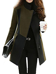 Women's Patchwork Army Green Trend Coat,Stylish Long Sleeve Wool Blends/Nylon Zipper
