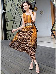 De las mujeres Corte Swing Vestido Casual Leopardo Maxi Escote en V Profunda Raso