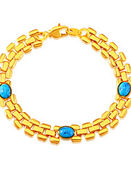Green Phoenix Stone Fashion Trendy Stamp 18K Gold Plated Chain Bracelets for Women Engagement Gift B40192