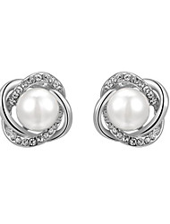 HKTC 18k White Gold Plated Jewelry with Austrian Crystal Simulated Pearl Flower Stud Earrings