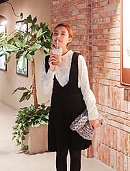 O estilo de mulheres coreanas casual / dia / vestido de chiffon sólida simples, v pescoço acima de poliéster joelho
