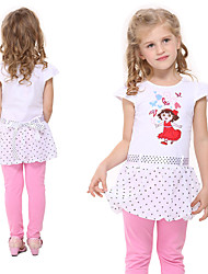 Girl's Summer Short Sleeve Kids Clothes Polka Dot Children Dresses(Random Printed)