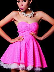 Women's Vintage Polka Dot A Line Dress , Strapless Mini Nylon