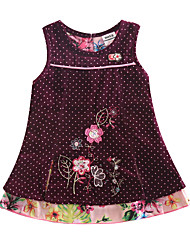 Children's Dress Sleeveless Corduroy Dress Polka Dot Flower Dress Girls Dresses(Random Printed)