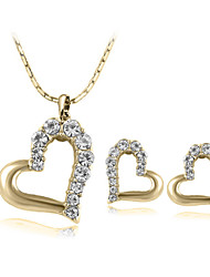Jewelry Set Classic Elegant Crystal Heart Pendant Necklace Earrings Girlfriend Gift
