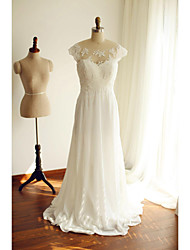 A-Line Scoop Neck Court Train Chiffon Lace Wedding Dress with Beading Lace Bow by Thstylee