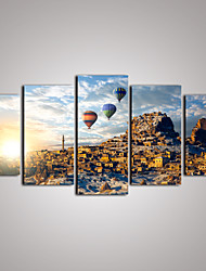5 Panels Sunrise Cityscape with Balloons  Canvas Print Art for Livingroom and Office Decoration Unframed