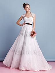 A-line Wedding Dress-Ivory Sweep/Brush Train Sweetheart Lace