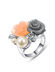 T&C Women's Simulated Pearl Flower Finger Ring White Gold Plated Crystal Jewelry Romantic Party Rings