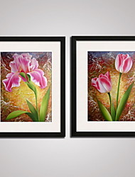 Framed  Pink Tulip with Green Leaves Canvas Painitng Modern Print Art Set of 2 for Home Decoration Ready To Hang