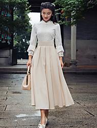 Women's Solid / Lace Beige Slim Thin Elegent Midi Dress , Vintage / Lace Stand ¾ Sleeve